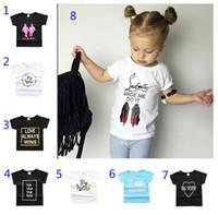 yumuşak pamuklu erkek şortları toptan satış-25 Stilleri Yeni Bebek Kız Erkek Yaz T Gömlek INS Çocuklar Mektup Baskı Yumuşak Pamuk Kısa Kollu Üst Tees