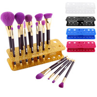 Wholesale Eco Friendly Makeup Brushes Wholesale - 15Hole Acrylic Makeup Brushes Holder Stand Storage Boxes Cosmetic Organizer Tools Brush Showing Rack Make up Brush Display Shelf