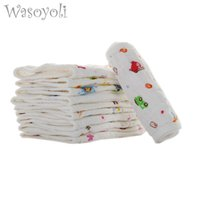 Wholesale baby diapers inserts cotton resale online - 1Pc Wasoyoli Colorful Cloth Diaper Liners Layers x45cm Cotton Seersckuer Burp Cloth Cute Washable Baby Nappies Insert