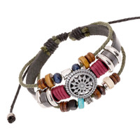 кожа хиппи оптовых-BX016 Handmade Boho Gypsy Hippie Black Leather Dark Green Rope Metal Charms Wood Button  Wrap Unisex Adjustable Bracelet
