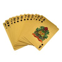 Discount gold foil playing cards - 24K Gold Foil Plated Poker Card Playing Card Game High-grade Sports Leisure Game Poker Card Gift Wholesale