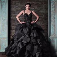 vintage moderne kleider großhandel-2018 moderne gotische schwarze Ballkleid Brautkleider Rami Kadi Spaghetti-Träger Vintage Lace Organza Rüschen geschwollene Braut formale Kleid