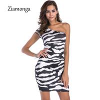 vestido de cebra de las mujeres al por mayor-Ziamonga 2018 Summer Sexy One Hombro Irregular Club Vestidos de fiesta Fied Zebra Impreso Lápiz Vestido ajustado Mujeres Plus Size