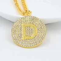 Wholesale letter d pendant online - New Design Crystal Letter D Pendant Necklace Mens Gold Chain Iced Out Paved Rhinestones Gold Color Hiphop Jewelry