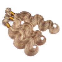 color de cabello rubio 613 al por mayor-Piano Color Extensiones de cabello humano 3 Bundles Honey Blonde 27 y Blench Blonde 613 Pelo humano Two Tone Body Wave Hair Trama