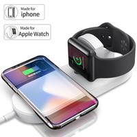 adaptador usb inalámbrico lg al por mayor-Lujo 2 en 1 cargador inalámbrico USB Adaptador de teléfono de carga rápida para apple watch iwatch 3 2 iphone X 8 Plus Samsung S9 S8 nota 7 8