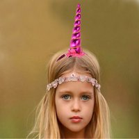 Wholesale Lace Headbands Diy - Unicorn Horns Hairband Kids Infant Cartoon Girls Handmade Hair Decorative DIY Headband Baby Hair Accessories Birthday Gifts