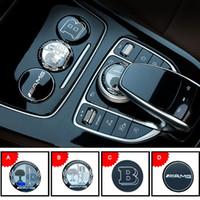 konsolenaufkleber großhandel-3D Metall AMG Apfelbaum Mittelkonsole Multimedia Knopf Dekorative Aufkleber Abdeckung für Mercedes BZ GLE C E GLC250 C200 E300 W205