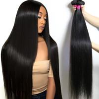 22-дюймовые человеческие волосы оптовых-Бразильские волосы девственницы длинные дюймы прямые 28 30 32 34 36 40 необработанные прямые человеческие волосы пучки перуанский наращивание волос Remy Малайзии