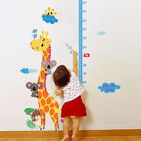 Wholesale Giraffe Wall Decor - Cartoon Giraffe Height Measure Wall Sticker For Kids Rooms Nursery 90*140cm Home Decor Growth Chart Mural Child Height Art Decal