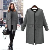 Wholesale woolen long coat for ladies for sale - Group buy elegant women business woolen coat jacket button office lady style long overcoat for women female thick outerwear