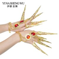 гвозди драгоценные камни оптовых-Gold Long Nails Belly Dance Accessories Red Gemstone Nail Women Belly Dance Props Girls Egyptian  Long Nails 1 Pair