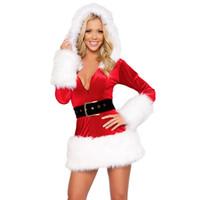 seksi yetişkin yılbaşı kostümü toptan satış-Vocole Seksi Noel Noel Baba Kostüm Kadife Faux Kürk Mrs Noel Cosplay Fantezi Elbise Yetişkin Kadın Mini Elbise Boyutu M L XL
