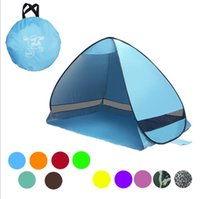 Wholesale pop up tent beach - Portable Pop Up Beach Tent Folding Automatic Open Tent Family Tourist Fish Camping Sun Shade tent LJJK1008