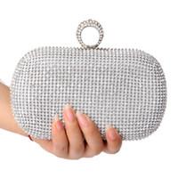 bolso de monederos de novia al por mayor-Rhinestones embrague de las mujeres bolsas de diamantes anillo del dedo bolsos de noche de la boda de cristal bolsos de novia bolsas monedero titular