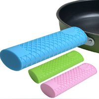 Wholesale tool heat iron online - Colors Silicone Cast Iron Handle Cover Skillet Holder Protection Sleeve Multicolor Anti heat Gadgets Kitchen Accessories Tools
