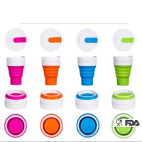 Wholesale tea cup portable - Portable Silicone Drinking Collapsible Folding Cup Travel Camping 350ML Outdoors Pocket Cup For Tea Drink Cups 6 Colors OOA4641