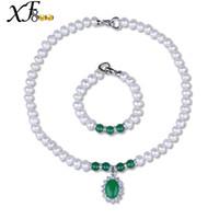 ingrosso monili genuini di agata bianca-[XF800] Set di gioielli di perle per le donne Genuine Fresh Water White 9-10mm Collana di perle con bracciale di Agate per la festa della mamma [T222]