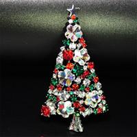 ingrosso spilla progettazione natale-Spilla per albero di Natale Spilla con strass multicolore Spilla di lusso gioielli di design Spilla di cristallo piena Spedizione a goccia per gioielli da festa