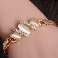 Wholesale White Opal Bangle Bracelet - NEW Gold Color Austrian Crystal Rhinestone Bracelets For Women Irregular shape Opal Bracelets & Bangles Jewelry bijoux femme
