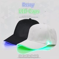 Wholesale led cream - Designer Curved Solid Plain Baseball Caps With Led Lights Night Luminous For Adults Mens Womens Adjustable Hats Party Hat Sports Sun Visor