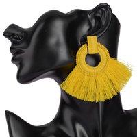 için büyük çemberli küpeler toptan satış-Etnik Vintage Sarı Uzun Püskül Hoop Küpeler Kadın Maxi Ipek Konu Bohemian Kırmızı Geometri Büyük Küpe Kadınlar Takı Hediye Için