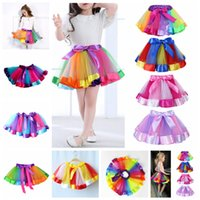 Wholesale dance performance clothes kids - Kids Rainbow TUTU Skirt Dress Children Girls Ball Gown Colorful Dance Wear Dress Ballet Pettiskirt Summer performance Party Clothes AAA530