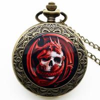 Wholesale Skull Watch Necklace - Steampunk Gothic Bronze Red Skull Dragon Quartz Pocket Watch Necklace Pendant Chain Men Women Boy Girls Children Halloween Gift + Clock Bag