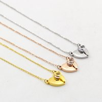 Wholesale Heart Shaped Key Necklace - 2018 The new peach heart key clip drill short necklace female fashion jewelry with crystal heart-shaped clavicle necklace