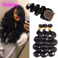 Wholesale drawstring hair ponytails for sale - Malaysian Human Hair Bundles With X4 Lace Closure pieces Body Wave Bundles With Closure Drawstring Ponytail