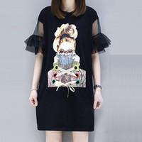 impresión de gran tamaño al por mayor-XL-5XL Camisetas de Gran Tamaño Impreso Belleza Mujeres Verano Gasa Malla Flare Manga Tops Largas Vendas Tee Mujeres Camisetas de Gran Tamaño