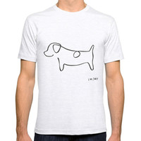 Wholesale Cheap Dog T Shirt - Cheap T Shirt Design Short Men 100% Cotton Crew Neck Abstract Jack Russell Terrier Dog Line Drawing Tee