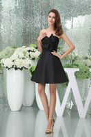 Wholesale white empire strapless prom dress resale online - Strapless Satin Short Homecoming Dresses Black Bow Sash Ruched Empire A Line Formal Party Short Cocktail Prom Dresses WD5