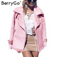 Wholesale lamb leather coats women - BerryGo Faux leather lamb fur suede jacket coat women Moto zipper fur jacket female overcoat Casual turn-down winter coat 2017