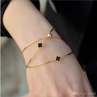 Wholesale Rose Gold Clover Bracelet - Korean multi-layer diamond four-leaf clover opening female bracelet 18K rose gold alloy jewelry bracelet three-piece