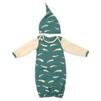 fußfedern großhandel-Baby Foot Cover Schlafsack Neugeborenen Schlafsack Feder Print Green Baby Schlaf Kleid Schlafsack mit Sleeve Hut