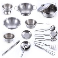 Wholesale mini pc metal resale online - 16 Stainless Steel Pretend Play Kitchen Toys Mini Model Kitchenware Cookware Cooking Toys Children Kids Pot Pan Brinquedo