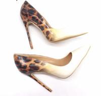ingrosso leopardo stilettos-Donne libere di trasporto signora 2019 donna leopardo Gradiente pelle verniciata Poined Toes tacchi a spillo di nozze scarpe tacchi alti 12 centimetri 10 centimetri pompe 8c m