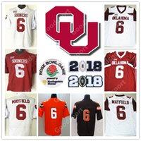 Wholesale purple football jersey 28 - Rose bowl 2018 NCAA Oklahoma Sooners College Baker Mayfield 6 Adrian Peterson 28 Perine 32 BOSWORTH 44 Jersey football HOT ORANGE