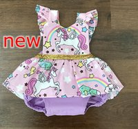 Wholesale Zebra Dresses Kids - summer ins new girls unicorn rainbow full print dress rompers kids cotton gold belt rompers 0-2years free ship