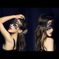 party thema schwarz weiß großhandel-20 Stücke Party Augenmasken Sexy Schwarz und Weiß Lace Fashion Theme Dance Brillen Parteien Masken