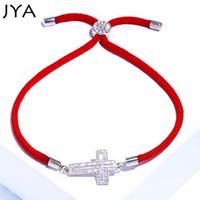 Wholesale lucky rhinestone bracelet resale online - JYA Lucky Bracelets for Women with Silver Rhinestone Cross Charm Bracelet Handmade Red String Rope Bangles High Quality Jewelry