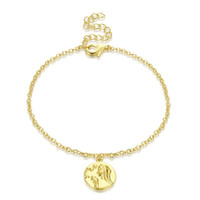 Wholesale sterling silver bracelet ends for sale - Group buy 2018 new high end women s elegant fashion silver coin round piece imitation yellow bracelet sterling silver