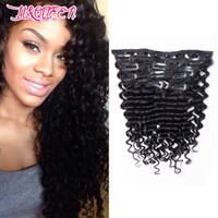 Wholesale best deep wave human hair resale online - Brazilian Deep Wave Curly Clip in Hair Extensions Peruvian Malaysian Indian Remy Unprocessed Human Hair set g Best Quality Hair A