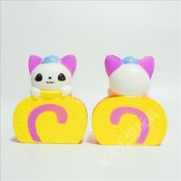 Wholesale cartoon cake for kids - Cat Swiss Roll Cake Shape PU Squishy Cartoon Slow Rising Squishies For Adult Kids Stress Reliever Toy 13lq B