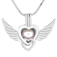 çift kanatlı kolye toptan satış-Çift kalp kanatları şekli kafes kolye paslanmaz çelik renk daha çekici dilek sağlar düğün hediyesi P153