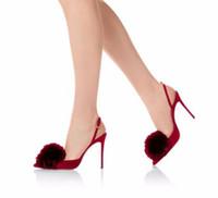 chaussures roses à talons hauts achat en gros de-Rouge Rose Fringe Chaussures À Talons Hauts Sexy Bout Toe Mince Talons Femmes Chaussures Cheville Boucle Sangle Slingback Femmes Pompes