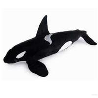 balina peluş oyuncak toptan satış-Dorimytrader Simülasyon Hayvanlar Katil Balina Peluş Oyuncak Büyük Dolması Siyah Köpekbalığı Bebek Çocuklar Yetişkinler için Hediye 51 inç 130 cm DY60962