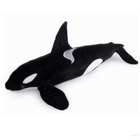 Wholesale stuffed animal sharks resale online - Dorimytrader Simulation Animals Killer Whale Plush Toy Big Stuffed Black Shark Doll for Kids Adults Gift inch cm DY60962