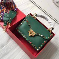 Wholesale jewel packaging - High quality leather fashion, multicolored jewel rivet, ladies packaging luxury designer, envelope bag, square pocket, 21*6*12